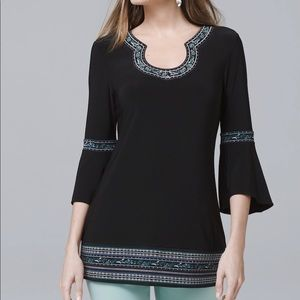 WHBM BELL-SLEEVE MATTE-JERSEY EMBROIDERED TUNIC
